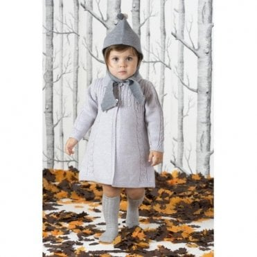 Grey vintage baby coat with detachable fur colar