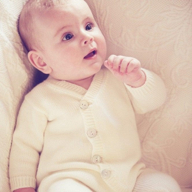 AliOli Kids Hand Knitted Baby Romper - Champagne