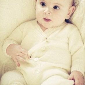 Hand Knitted Baby Romper - White