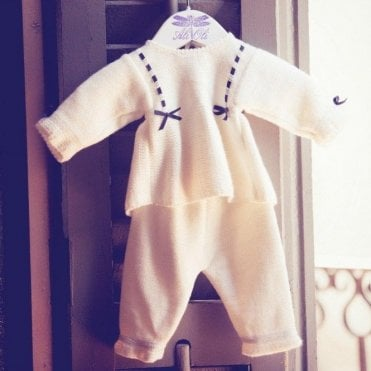 Luxury White Knitted Baby Outfit