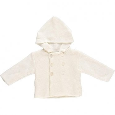 White knitted baby coat with hood